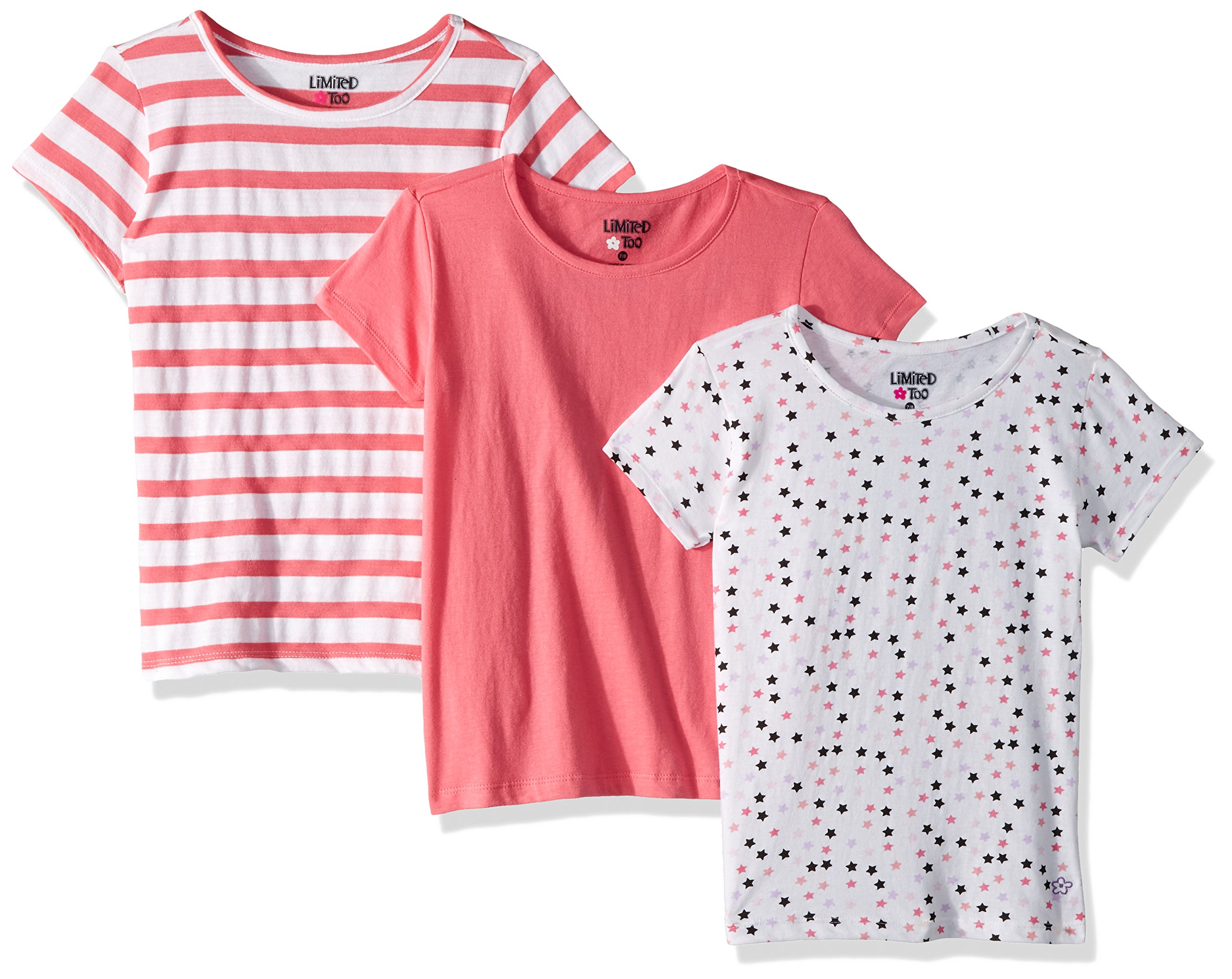 Limited Too Big Girls' 3 Pack T-Shirt, Pack Stars Stripes Pink Solid Multi Print, 7/8