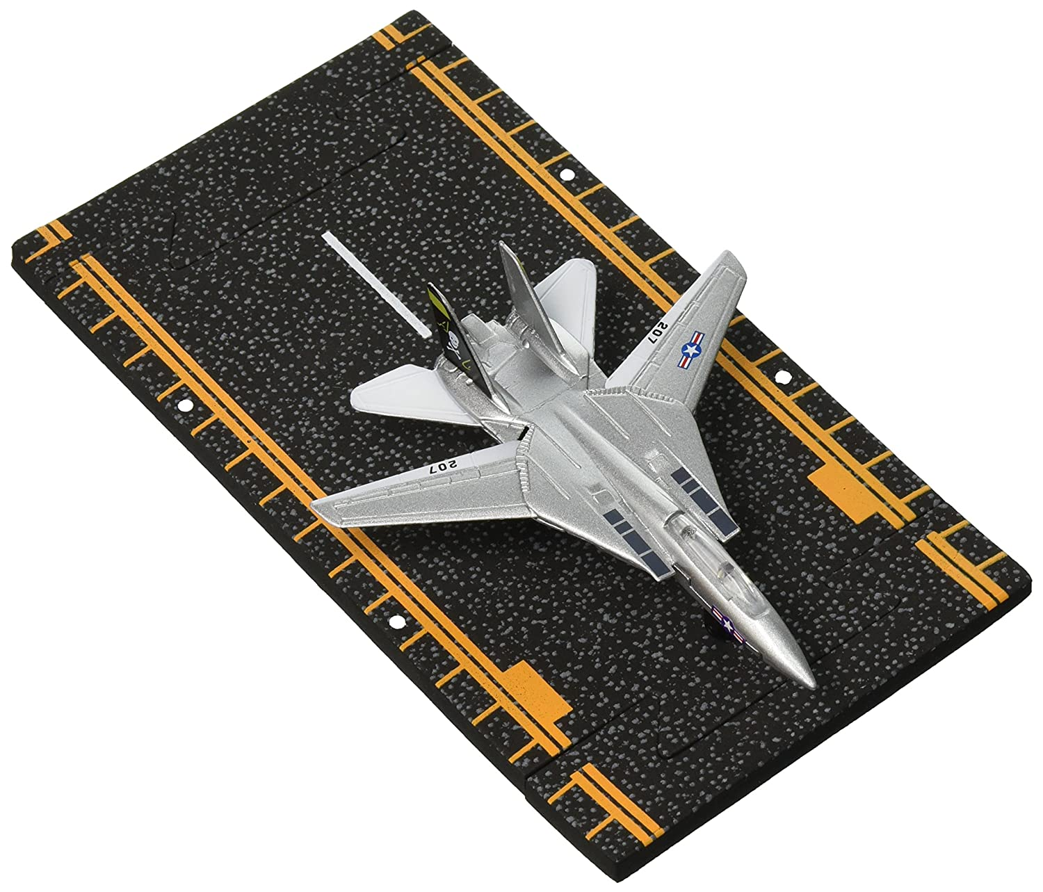 Hot Wings F-14 Tomcat Jet (Jolly Rodgers) With Connectible Runway, Silver Just Think Toys 14126