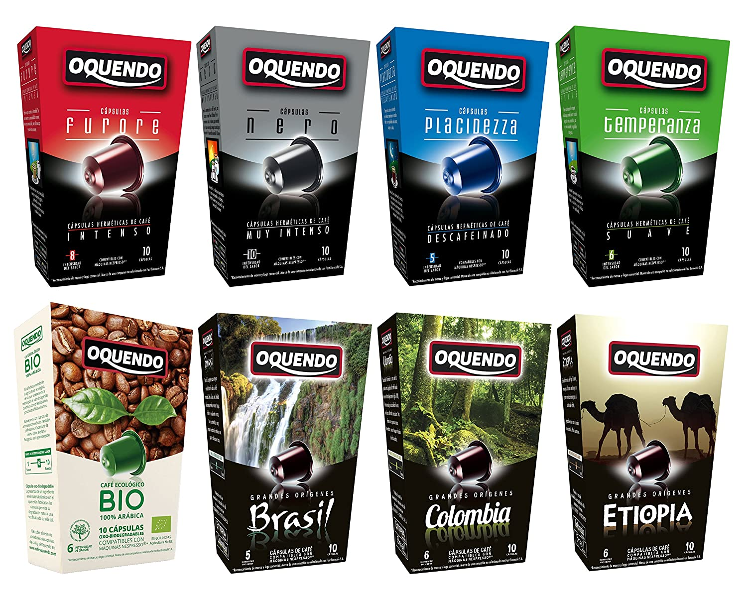 80 Café Oquendo Compatible Coffee Capsules - 8 Flavor Variety Pack - 8 Boxes 10 count per box - 80 cups- Premium Quality Nespresso Coffee - 60 Day ...