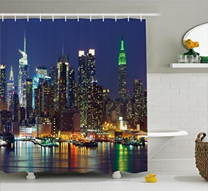 Ambesonne New York Shower Curtain NYC Midtown Skyline In Evening Skyscrapers Amazing Metropolis City States
