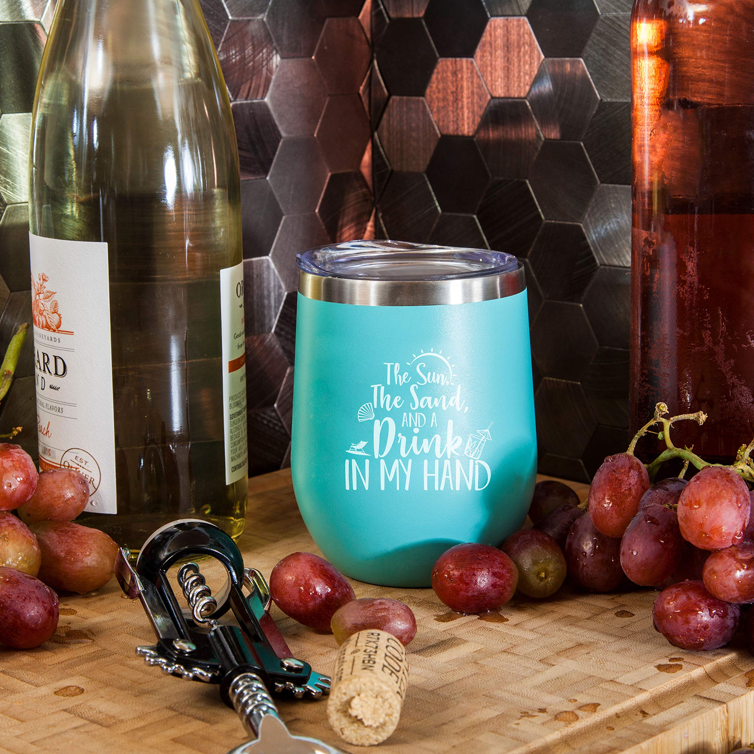 The Sun The Sand and A Drink In My Hand - Perfect Insulated Travel Cup for The Beach, Lake or Pool - 12 oz Stainless Steel Wine Glass Tumbler with Lid by Gelid (Image #5)