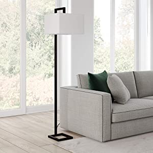 Henn&Hart FL0252 Black Floor Lamp with Square Fabric Shade for Living Room / Office / Bedside