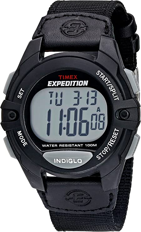 Timex Expedition Classic Digital Chrono Alarm Timer 41mm Watch, digital display, water-resistant watch suitable for swimming and snorkeling. Indiglo back-light for easy time-viewing in the dark