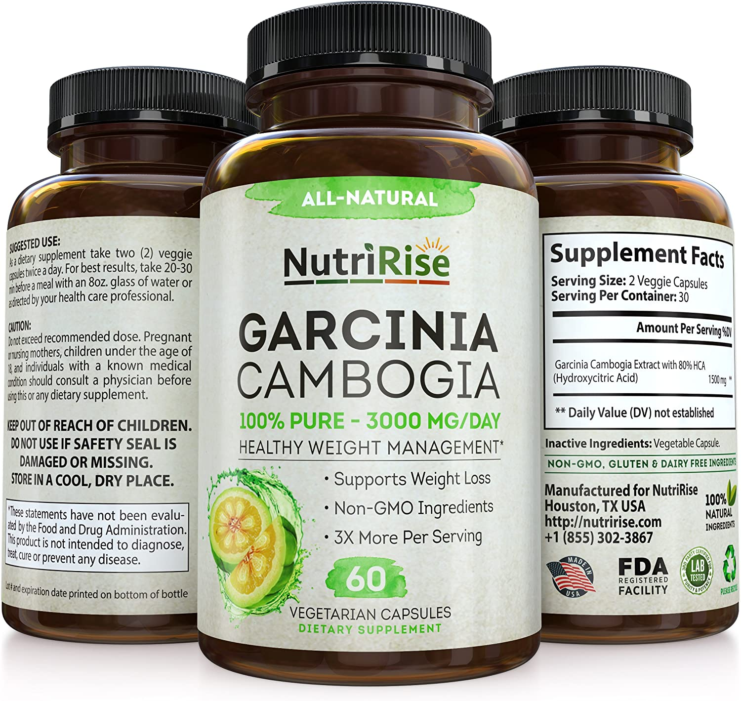 Amazon Com Garcinia Cambogia 3000 Mg Supplement 60 Capsules