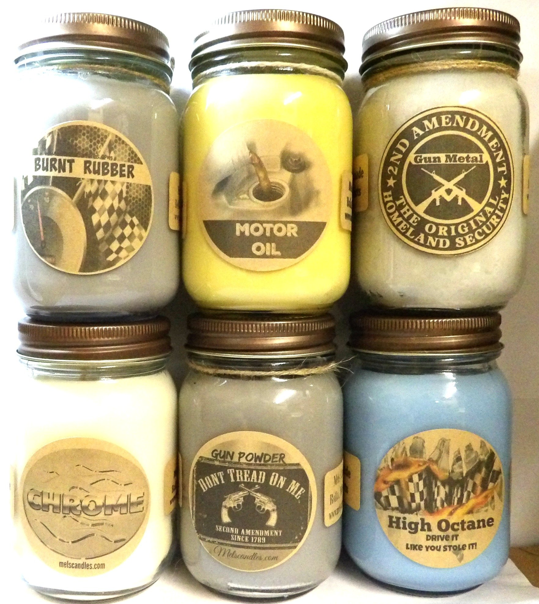 Large Combo - High Octane (Racing Fuel), Motor Oil, Burnt Rubber, Chrome, Gun Metal & Gun Powder Set of Six (6) 16oz Country Jar Soy Candles Great Unique Candles for Men