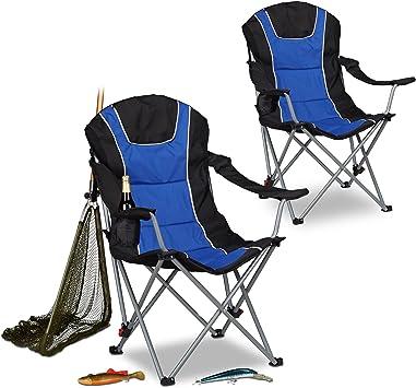 Relaxdays Pack de 2 Sillas Plegables Camping con Respaldo ...