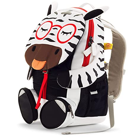 cc1cfe8728f1 Amazon.com  Affenzahn Kindergarten Kids Backpack with Adjustable Chest  Strap for Girls and Boys Preschool from 3-5 years old Zena Zebra white   Musical ...