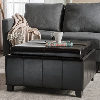 Plymouth Espresso Leather Tray Top Storage Ottoman
