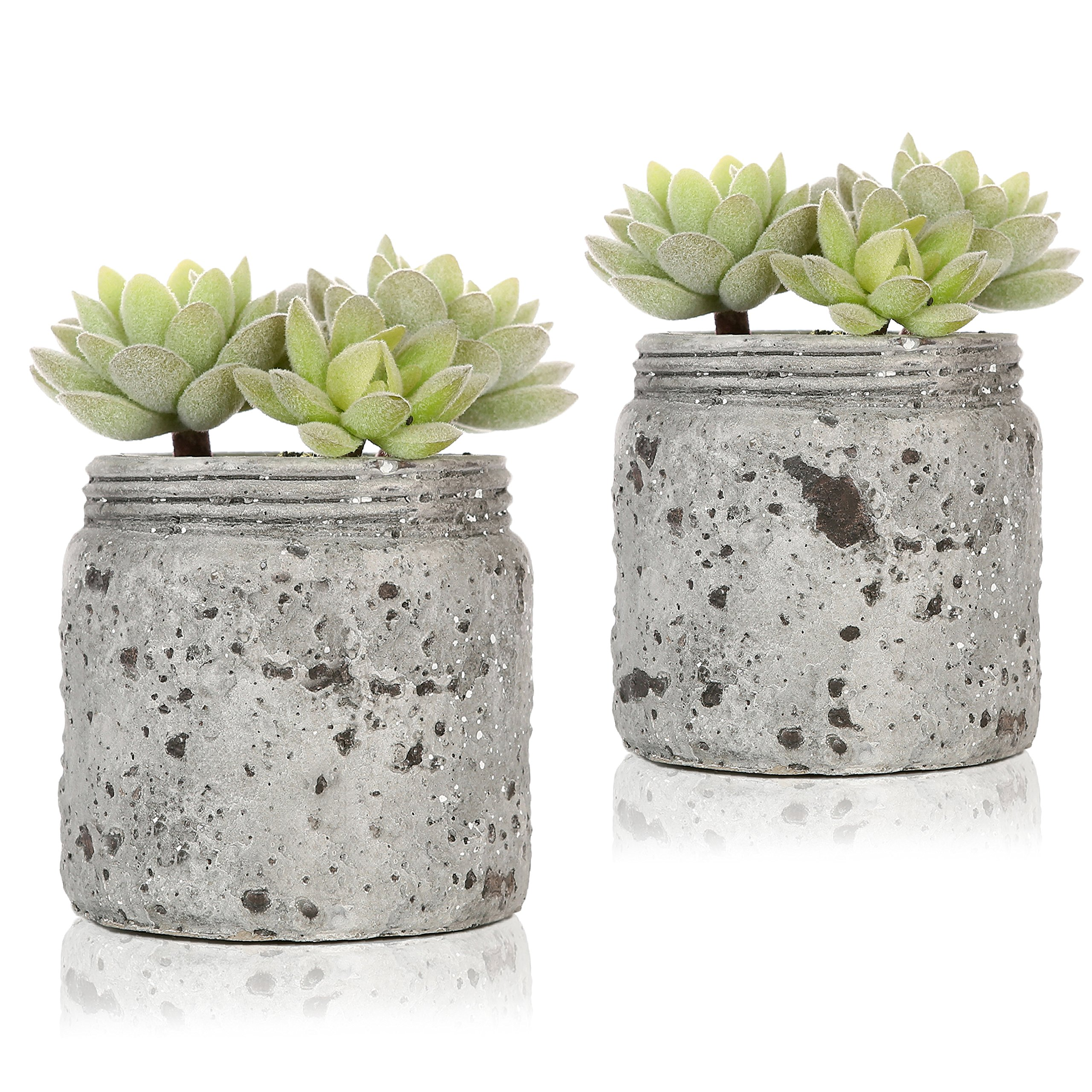 Mini Realistic Artificial Green Succulent Plants in Vintage Distressed Gray Ceramic Jar Pot, Set of 2 by MyGift