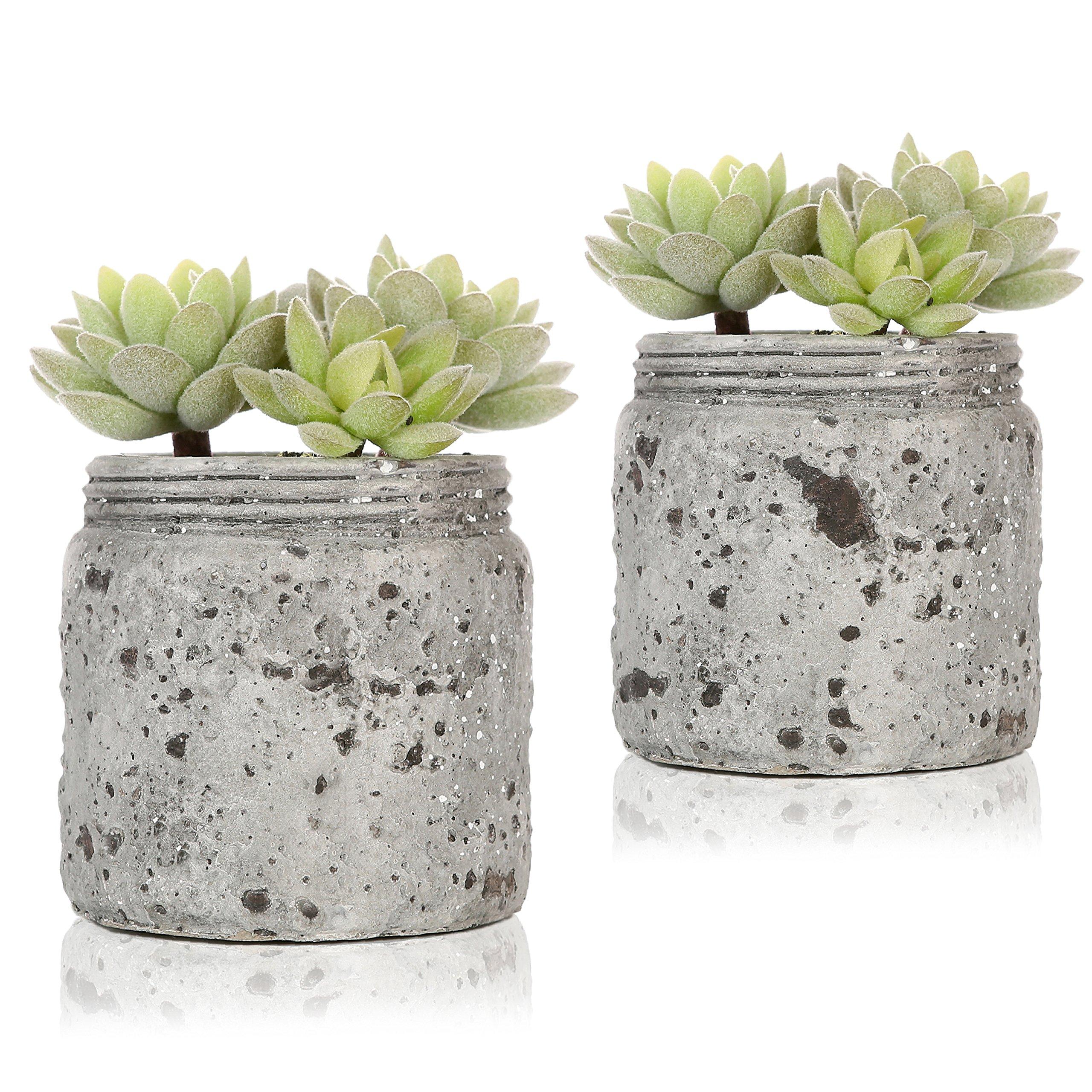 Mini Realistic Artificial Green Succulent Plants in Vintage Distressed Gray Ceramic Jar Pot, Set of 2