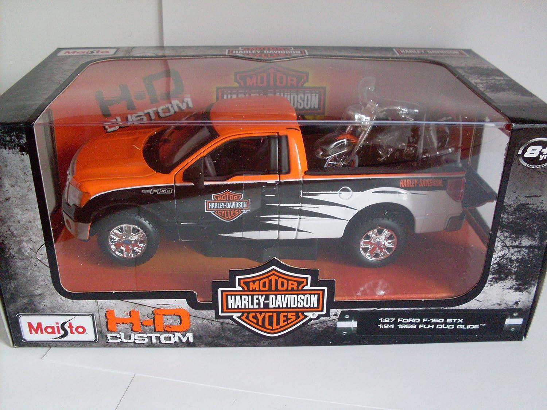 Pick up modelo 1:24 ford f-150 STX negro naranja 1958 FLH Duo Glide de maisto