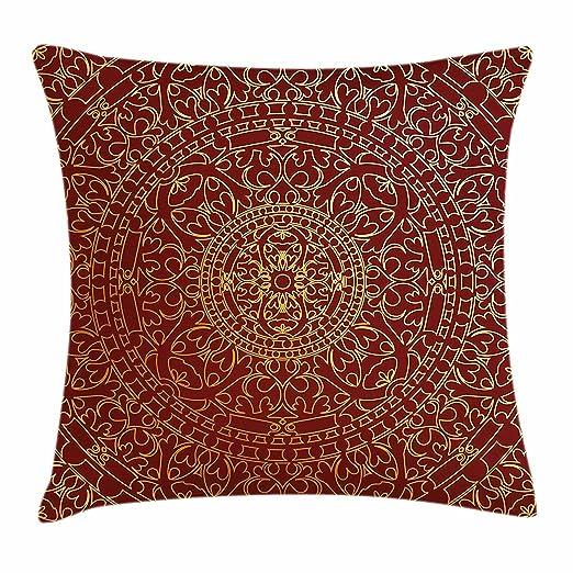 LilyNa Funda de cojín con diseño de mandala oriental de estilo árabe antiguo, diseño étnico marroquí y cuadrado decorativo, color marrón, Multi 1, 18