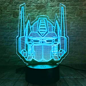Fanrui Creative Autobots 3D Knight Trans Figure Optimus Prime Transformers 7 Color Change Touch Button and Control Led Night Light Decor Fans Man Boys Kids Teens Holiday Xmas Child Birthday Xmas Favor