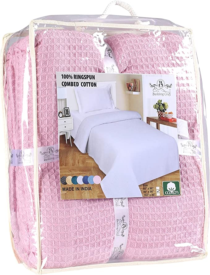 Ring Spun Soft Cotton Thermal Blanket In Waffle Weave 102x90 King Baby Pink All Season Blanket Breathable Cotton Thermal Blanket Light Thermal Blanket Perfect For Layering Any Bed Provides Comfort Kitchen Dining
