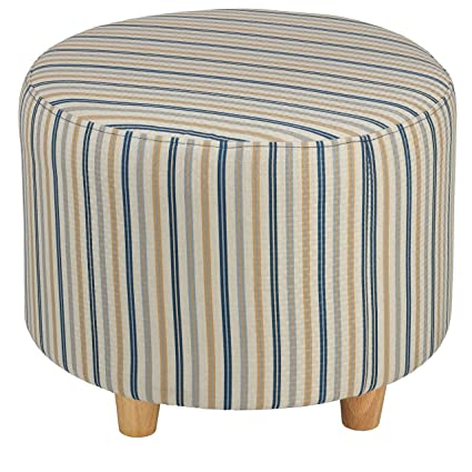 Superb Amazon Com Cortesi Home Jenner Round Ottoman In Striped Pdpeps Interior Chair Design Pdpepsorg