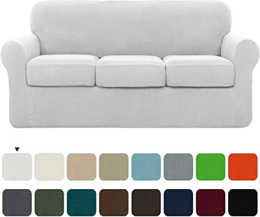 subrtex High Stretch Jacquard Slipcover with 3 Separate Cushion Common Couch Sofa Cover - Maximum Protection