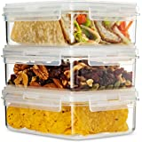 Komax HIKIPS Food Storage Containers 27.5oz (3 pack) - Meal Prep, Snack, Bento Lunch Box Containers. Leakproof, Clip & Close Lids. Microwave, Freezer, and Dishwasher Safe. BPA Free