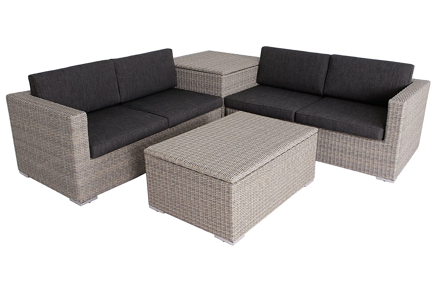 villana exklusive loungegruppe gartenlounge aus hochwertigem polyrattan in braun grau f r 4. Black Bedroom Furniture Sets. Home Design Ideas