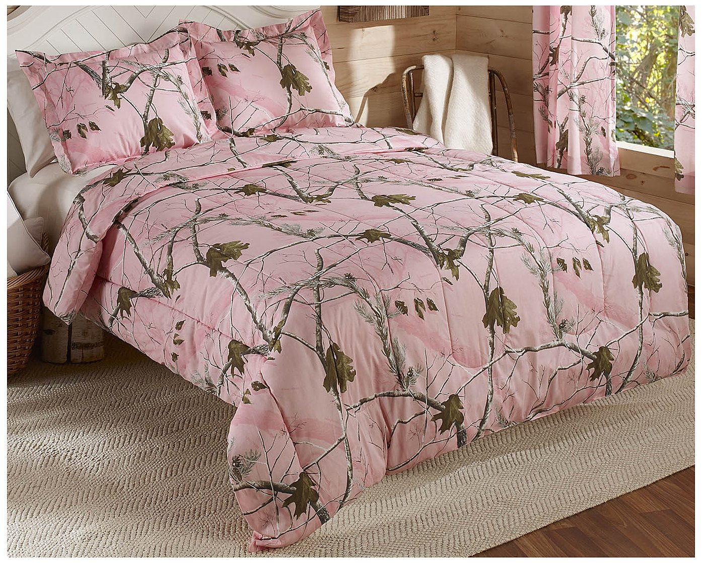Real Tree AP Mini Comforter Set, Queen, Pink