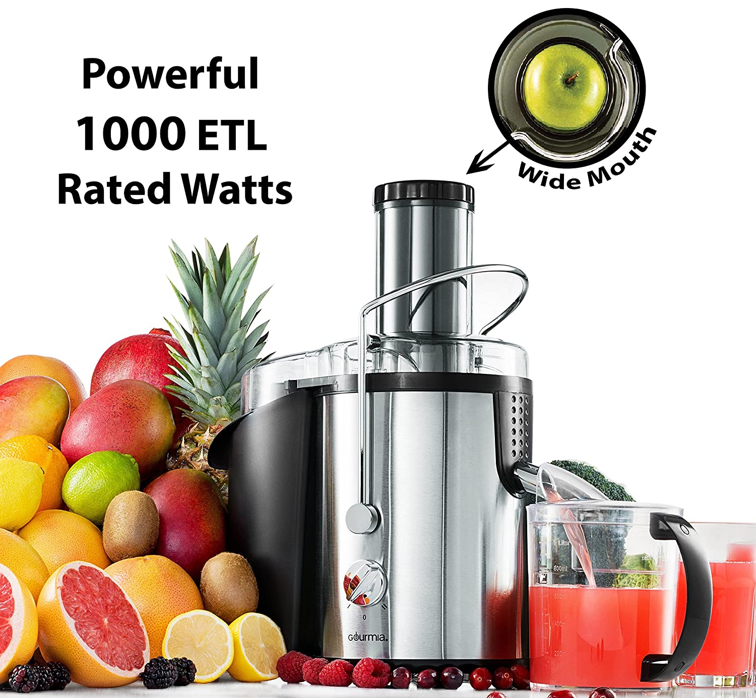 Gourmia GJ750 Wide Mouth Fruit Centrifugal Juicer 750 Watts Juice Extractor with Multiple Settings, Stainless Steel - Includes Free E-Recipe Book - 110V GJ-750