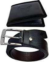 Discover Fashion Men Black Pu Leather Belt wallet combo of 2