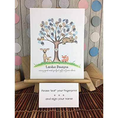 Gender Neutral Woodland Animal Fingerprint Tree, Woodland Theme Baby Shower Guest Sign In Picture: Handmade