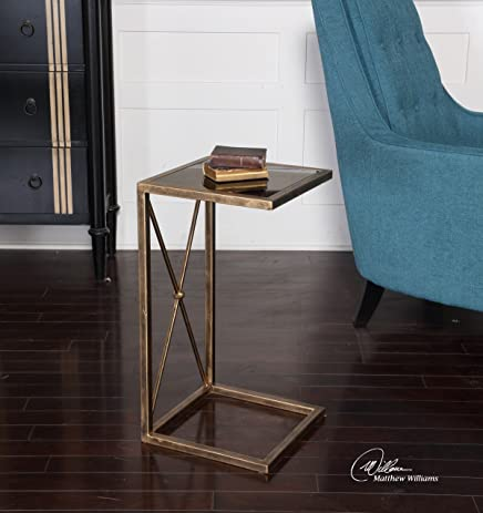 Open Gold C Side Table Minimalist | Black Accent End