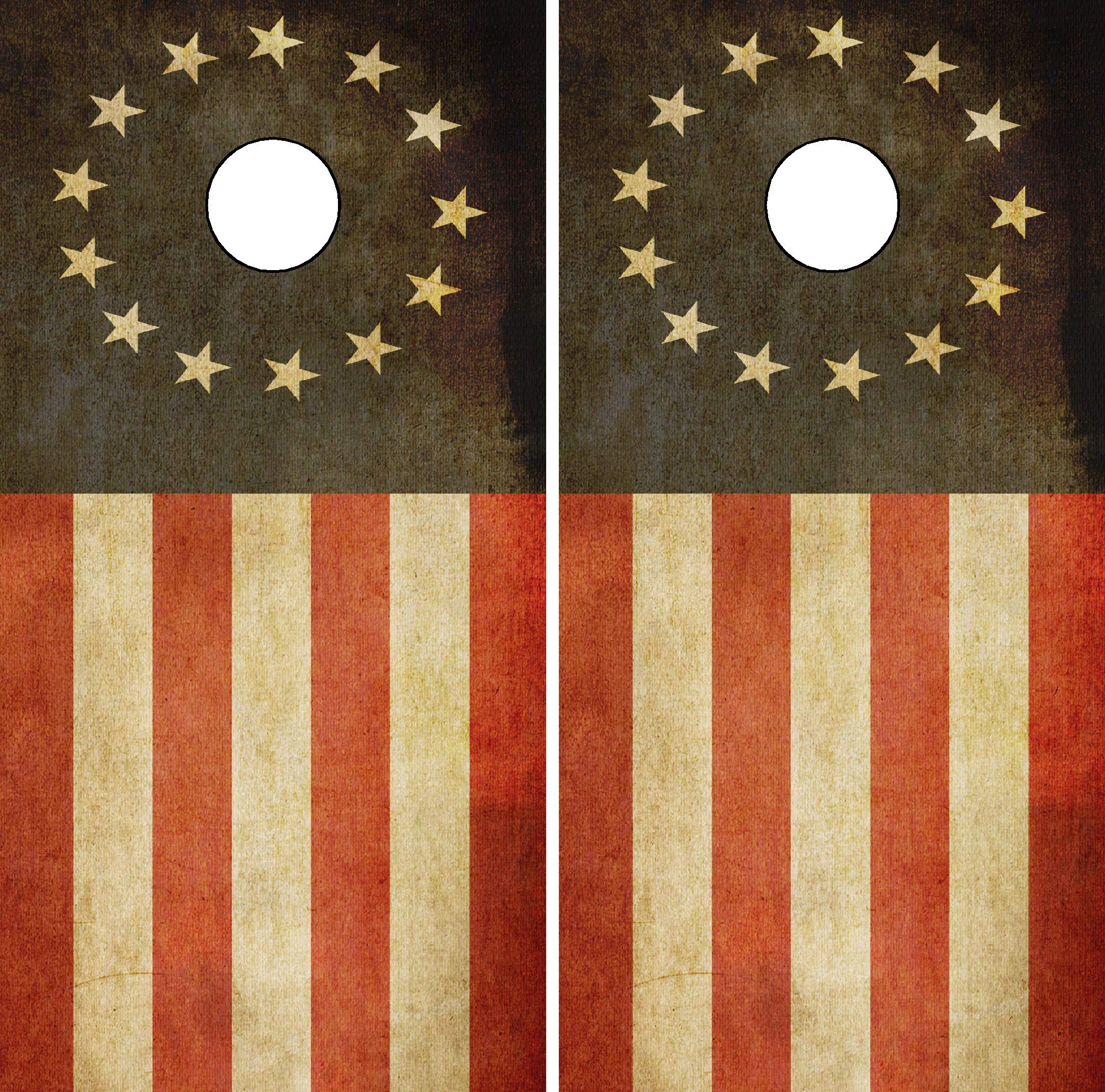 C290 Betsy Ross Distressed American Flag Cornhole WRAP Wraps Laminated Board Boards Decal Set Decals Vinyl Sticker Stickers Bean Bag Game Vinyl Graphic Tint Image by Cornhole Board Wrap