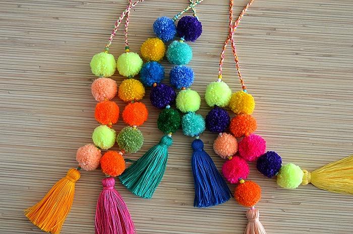 Amazon.com  Pom pom bag charm Tassel bag charm Neon pink tassel bag charm Bag  accessories Handbag charm Pom pom purse charm  Handmade ec8f7ead2063