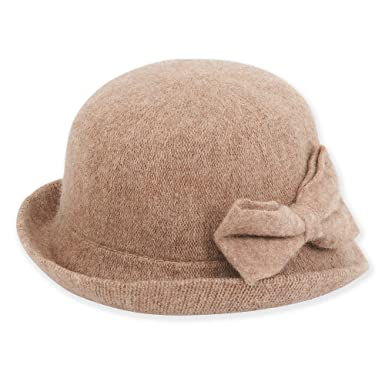 17c97fedc6e Adora Women Soft Wool Cloche Bucket Hat with Bow Trim 756 (Camel) at Amazon  Women s Clothing store