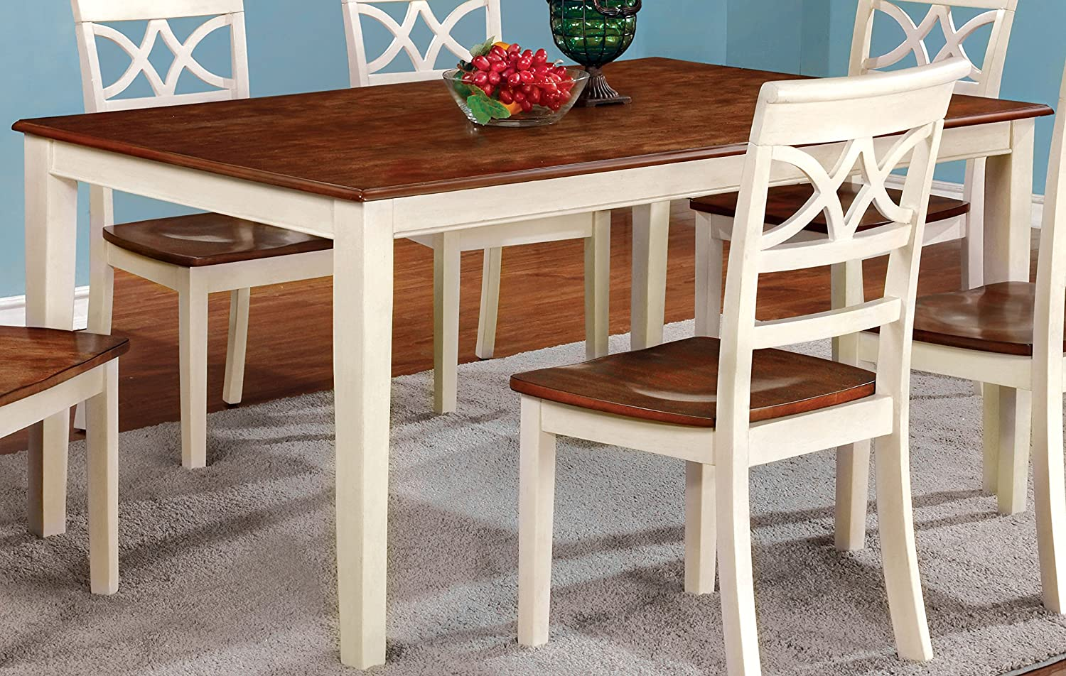 Furniture of America Cherrine Country Style Dining Table, Oak/Vintage White