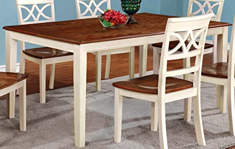 Amazon Com Furniture Of America Cherrine Country Style Dining Table Oak Vintage White Tables