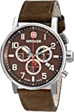 Wenger Commando Chrono Men's Quartz Watch with Brown Dial Chronograph Display and Brown Leather Strap 011243102