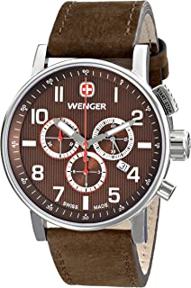 Wenger Mens 01.1243.102 Commando Chrono Analog Display Swiss Quartz Brown Watch