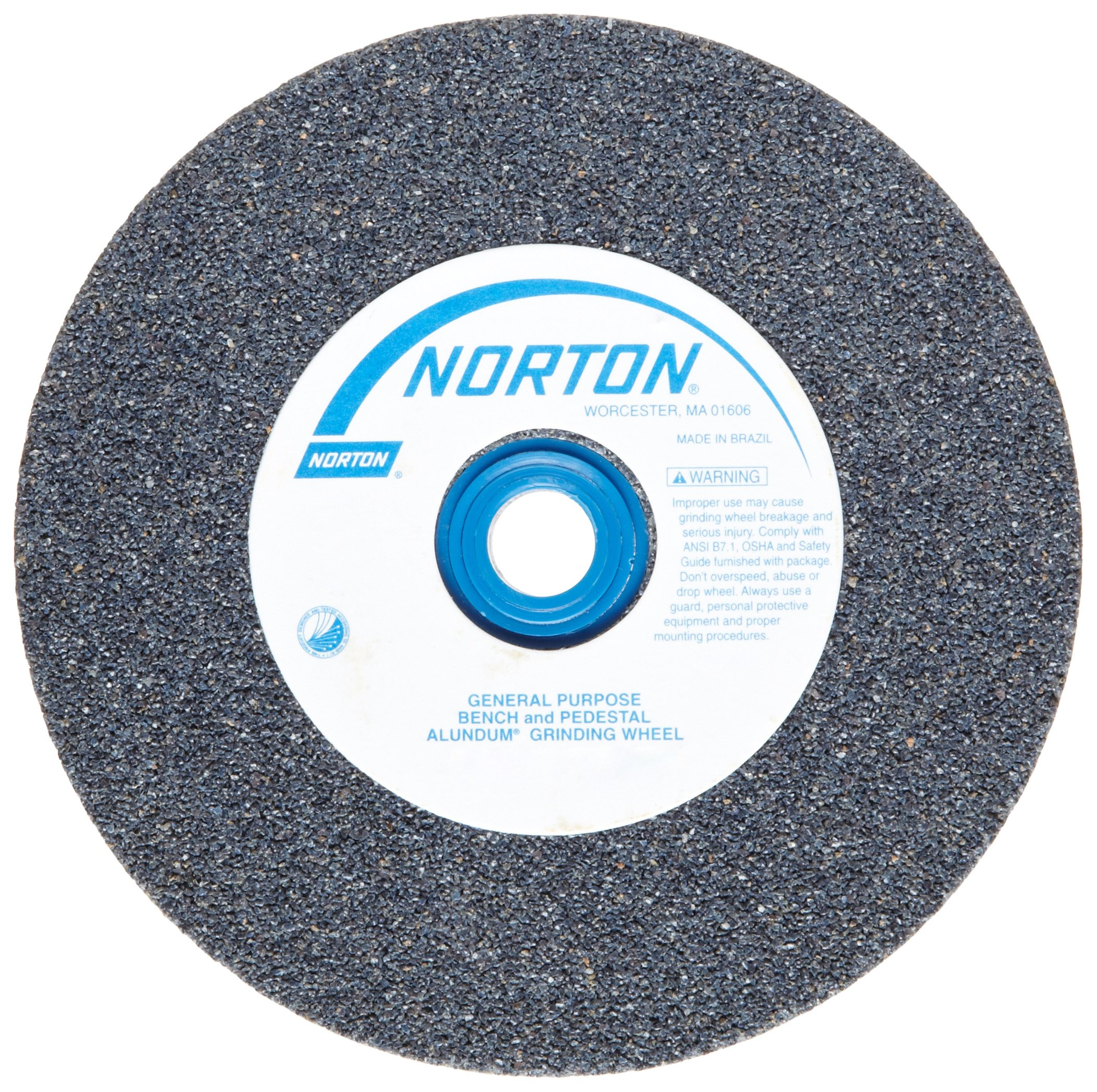 Norton Gemini Bench and Pedestal Abrasive Wheel, Type 01 Straight, Aluminum Oxide, 1'' Arbor, 8'' Diameter, 1'' Thickness, 24 Grit (Pack of 1)