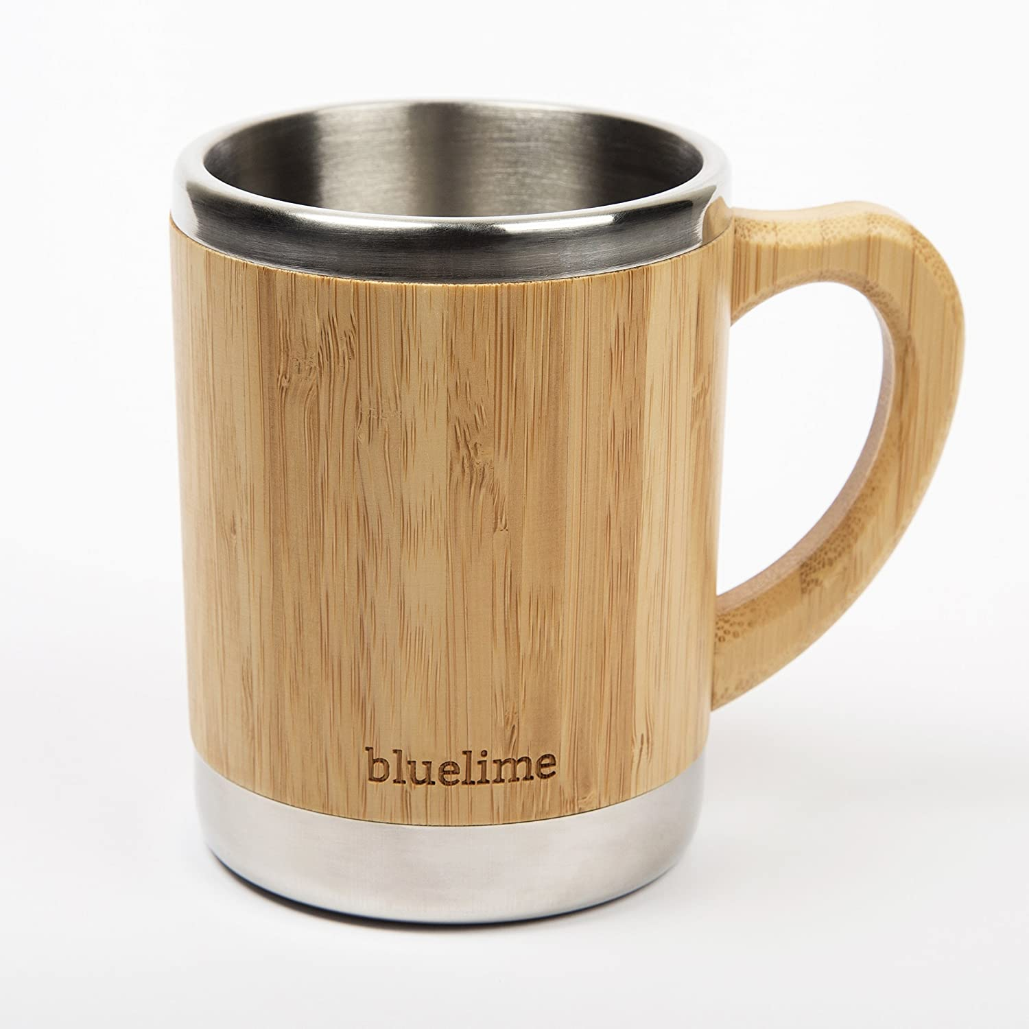 Amazon.com   Bluelime Bamboo Coffee Mug - Stainless Steel Wooden Coffee Tea Mug: Insulated - Light & Portable for Office - Lid and Handle - Keeps Drinks Hot or Cold - 10 oz - 100% Eco-Friendly