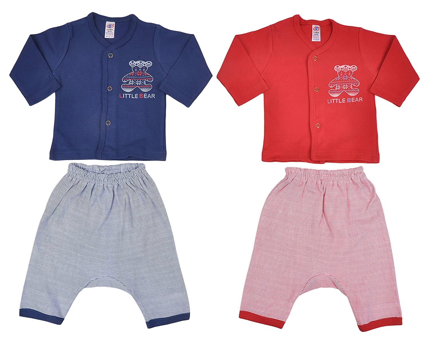 ZERO Baby Cotton Clothes Full Sleeves Clothing Set, Red 0-3 Months (Pack of 2)