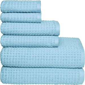 GLAMBURG 100% OEKOTEX Organic Cotton 6 -Piece Towel Set, GOTS Certified, Contains 2 Oversized Bath Towels 30x54, 2 Hand Towel 16x28, 2 Wash Cloth 12x12, Absorbent and Eco-Friendly - Light Blue