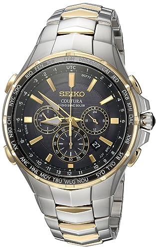 Radio Primavera De Tono De Dos Seiko Ssg010 De Sincronización Solar Watch De Men Steel: Amazon.es: Relojes