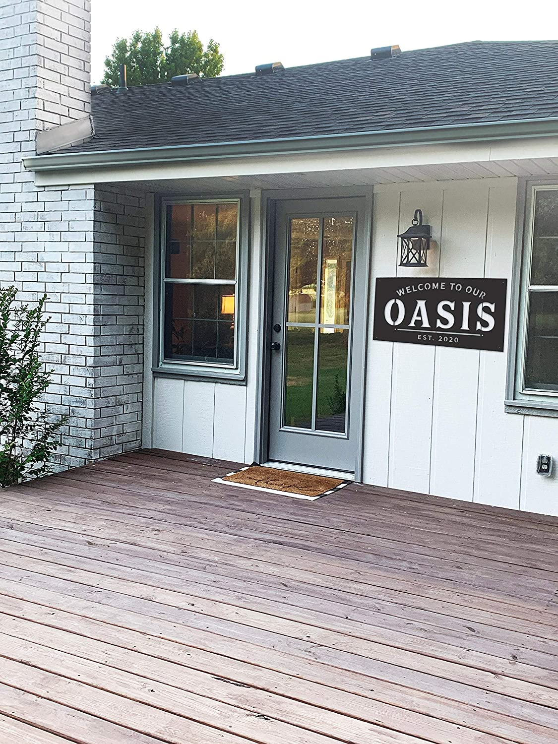 Tamengi Welcome to Our Oasis, Backyard Sign, Custom Metal Sign, Established, Welcome Sign Personalized Metal Sign Simply Inspired Outdoor Space, Metal Sign
