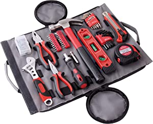Apollo Tools 91 Piece Rollup Tool Set. Easy to Store and Transport Tool Set for Household Repairs, Car Emergency, Crafts and DIY Tasks - DT4945, red
