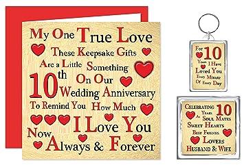 Our 10th Wedding Anniversary Gift Set - Card, Keyring & Fridge ...