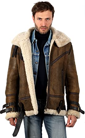 Mens Vintage Brown B3 Sheepskin Aviator Flying Leather Jacket XS