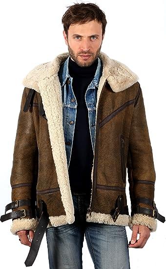 Mens Vintage Brown B3 Sheepskin Aviator Flying Leather Jacket XS