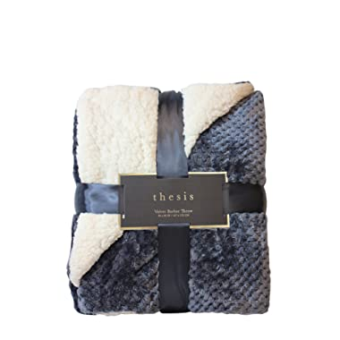 Northpoint Thesis, Classic Jacquard Velvet Berber Reversible Throw, Charcoal