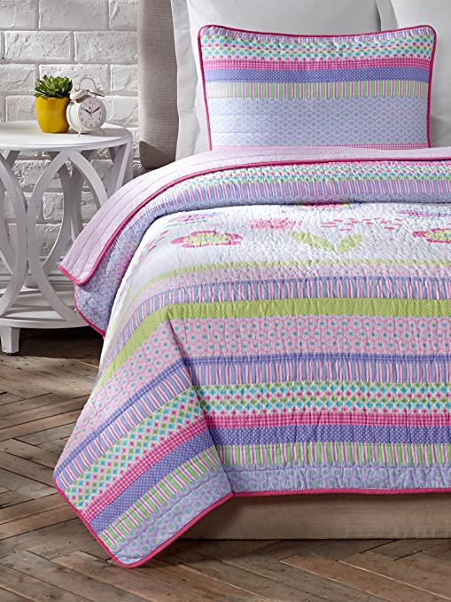 Home Fashions Distributor Emma Pink Reversible 3-Piece Quilt Set Full//Queen