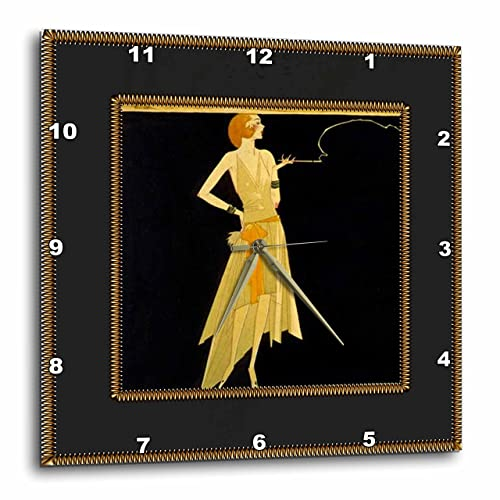 3dRose DPP_39590_2 Art Deco Lady with Gold Frame Wall Clock, 13 by 13-Inch, Black