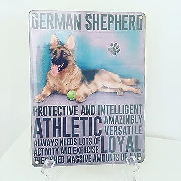 Placa decorativa de pared de metal con diseño de perro pastor alemán, protección e inteligente, ATHLETIC, cobertizo de masas cantidades de pelo.