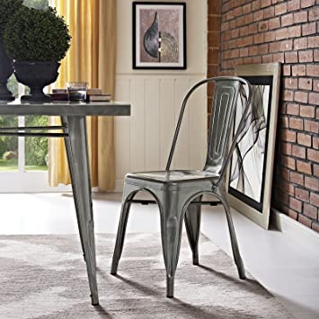 Modway Promenade Industrial Modern Aluminum Kitchen and Dining Room Chair  in Gunmetal