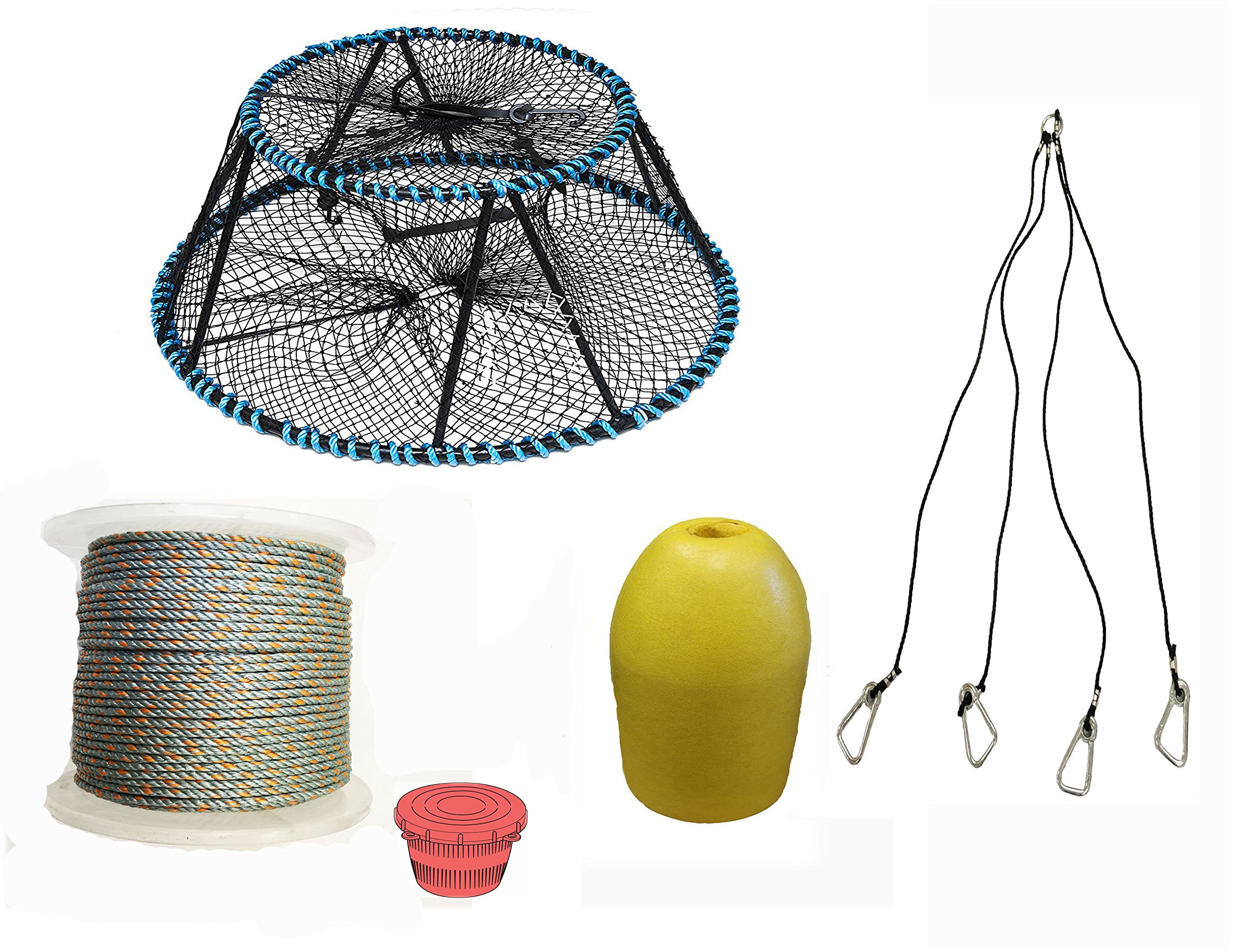 KUFA Sports Tower Style Prawn trap with 400' rope, Yellow float and Vented Bait Jar combo (CT150+PAL1+HA5)